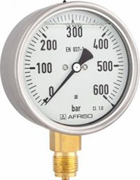 """Manometr glicerynowy RF 160 Gly, D801,fi160 mm, 0÷2,5 bar, G1/2"""" rad, kl. 1,0"""