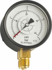"""Manometr różnicy ciśnień RF 100 Dif, D201, fi100 mm, 0÷2,5 bar, G1/2"""", rad, kl. 1,6"""