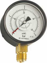 """Manometr różnicy ciśnień RF 100 Dif, D201, fi100 mm, 0÷60 bar, G1/2"""", rad, kl. 1,6"""