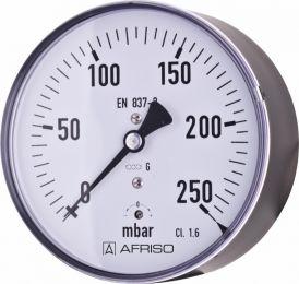 Manometr puszkowy KP 100, D211,fi100 mm, 0÷600 mbar, 1/2' 'ax, kl. 1,6