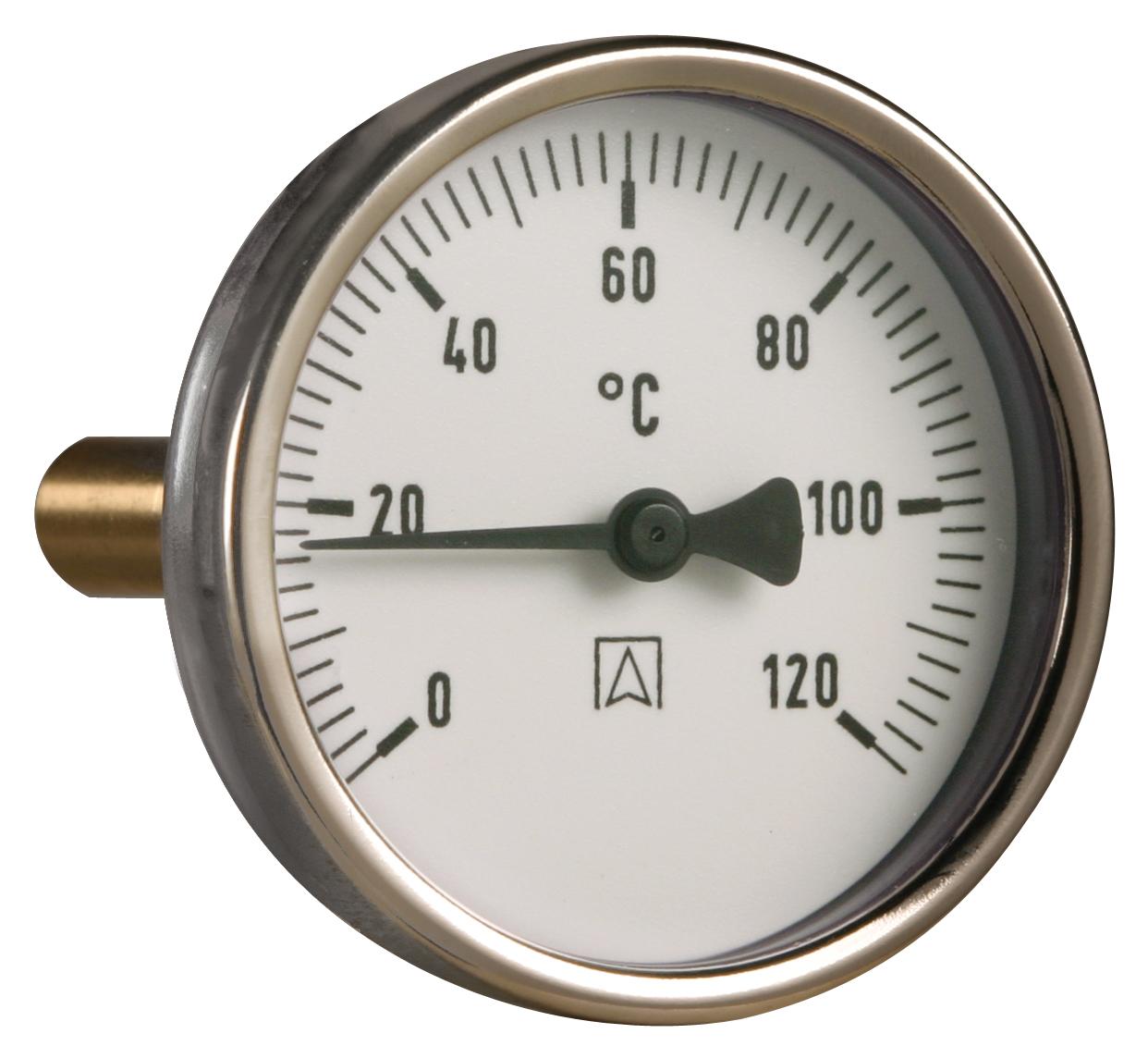 """Termometr bimetaliczny BiTh 63,fi63 mm, 0÷60°C, L 100 mm, G1/2"""" rad, kl. 2"""