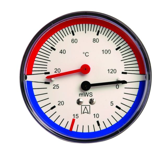 "Termohydrometr TH 80, fi80 mm, 0÷40 mH2O, 20÷120°C, G1/4"", ax, kl. 2,5"
