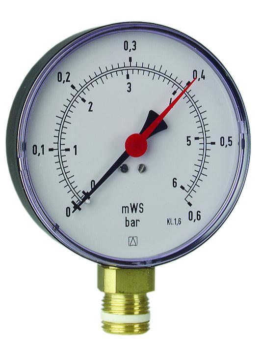 Hydromanometr HY 100 rad,fi100 mm, 0÷4 bar, G1/2'' rad, kl. 2,5