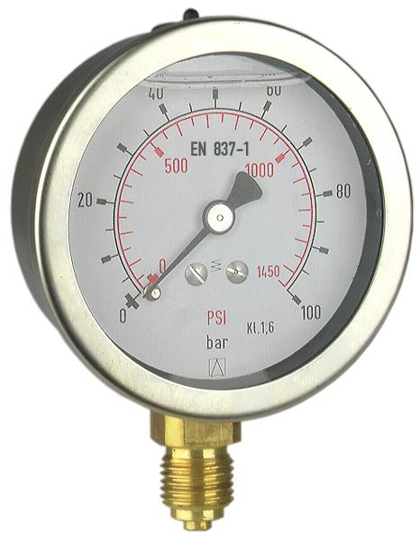 Manometr przemysłowy RF 100 I, D201,fi100 mm, -1÷0 bar, G1/2'' rad, kl. 1,0