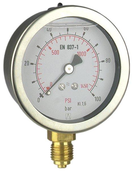 """Manometr przemysłowy RF 100 I, D211,fi100 mm, -1÷0 bar, G1/2"""" exc, kl. 1,0"""