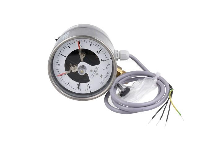 """Manometr kontaktowy RF 100 I MK2, D401,fi100 mm, -1÷9 bar, 2 kontakty, G1/2"""" rad, kl. 1,0"""