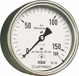 "Manometr puszkowy KP 160 Dif, D411,fi160 mm, 0÷25 mbar, G1/2"" ax, kl. 1,6"