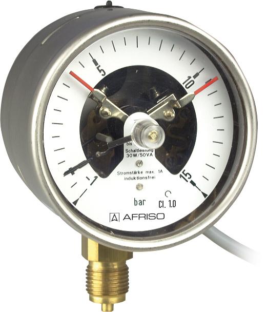 """Manometr kontaktowy RF 100 I MK2, D401,fi100 mm, 0÷2,5 bar, 2 kontakty, G1/2"""" rad, kl. 1,0"""