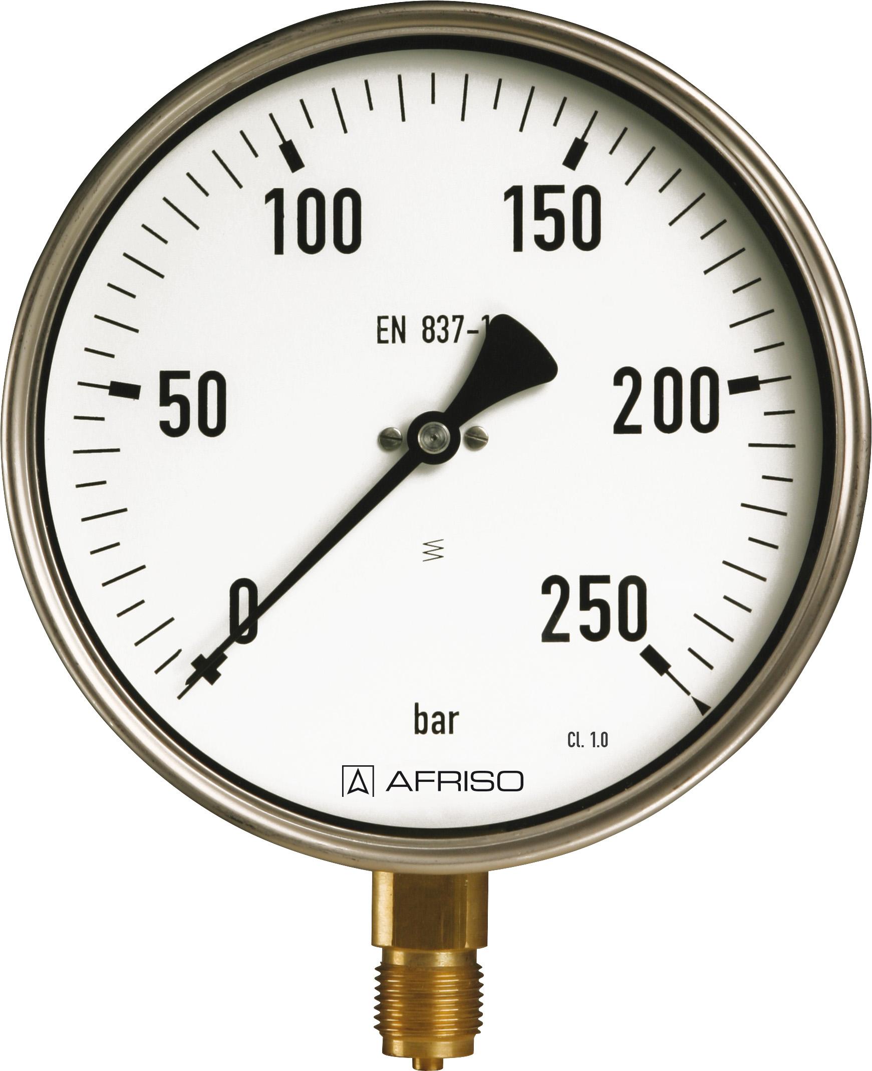 """Manometr przemysłowy RF 100 I, D401,fi100 mm, 0÷400 bar, G1/2"""" rad, kl. 1,0"""