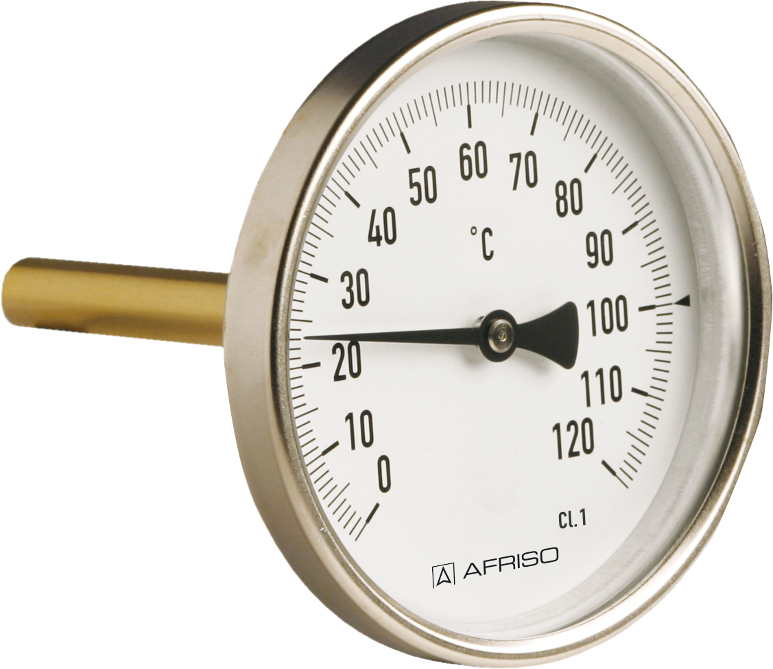 """Termometr przemysłowy BiTh 100 I, D211,fi100 mm, 0÷160°C, L 63 mm, G1/2"""" ax, kl. 1"""