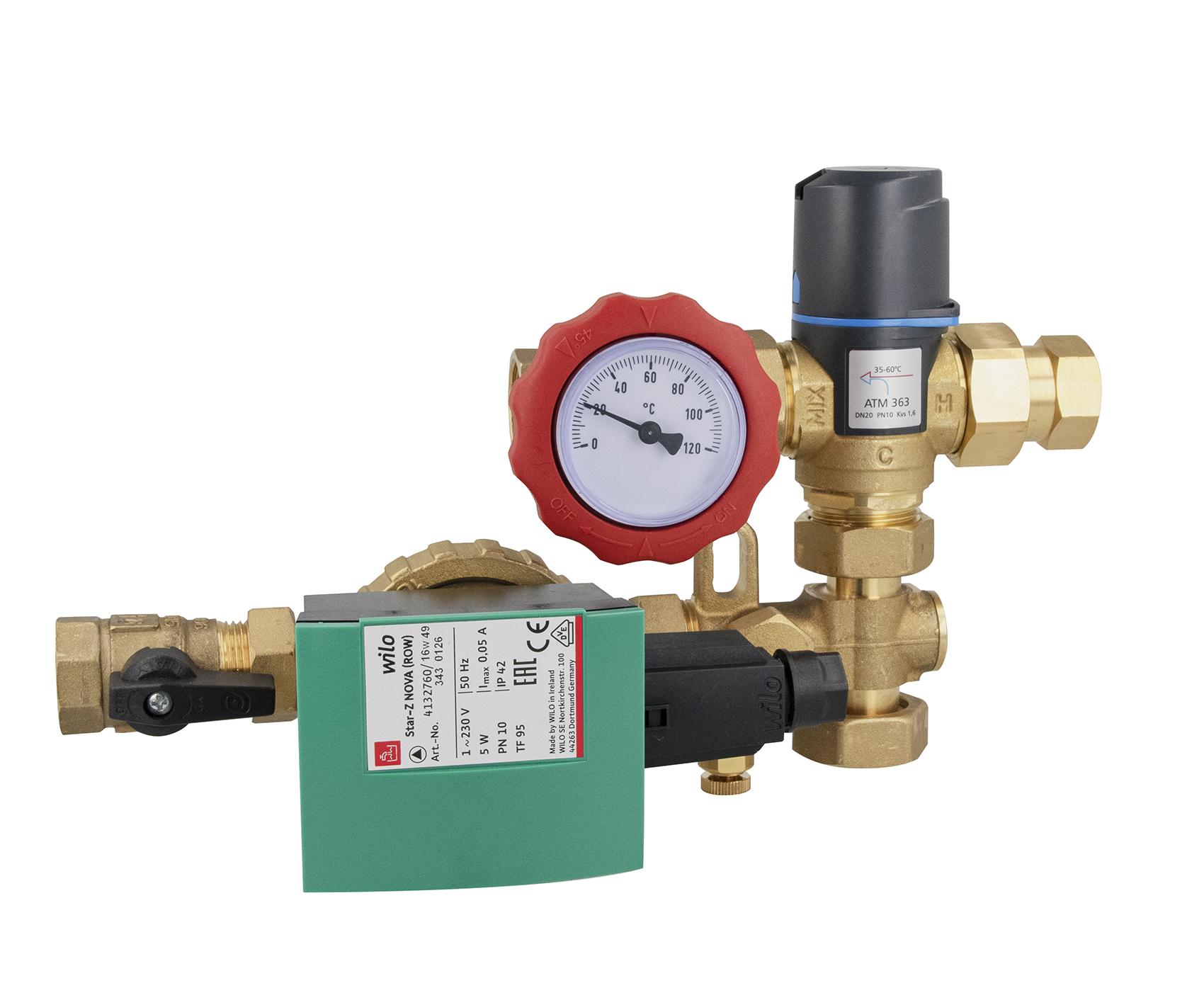 Grupa pompowa do cyrkulacji ciepłej wody użytkowej WZS 75, ATM Kvs 1,6 m3/h