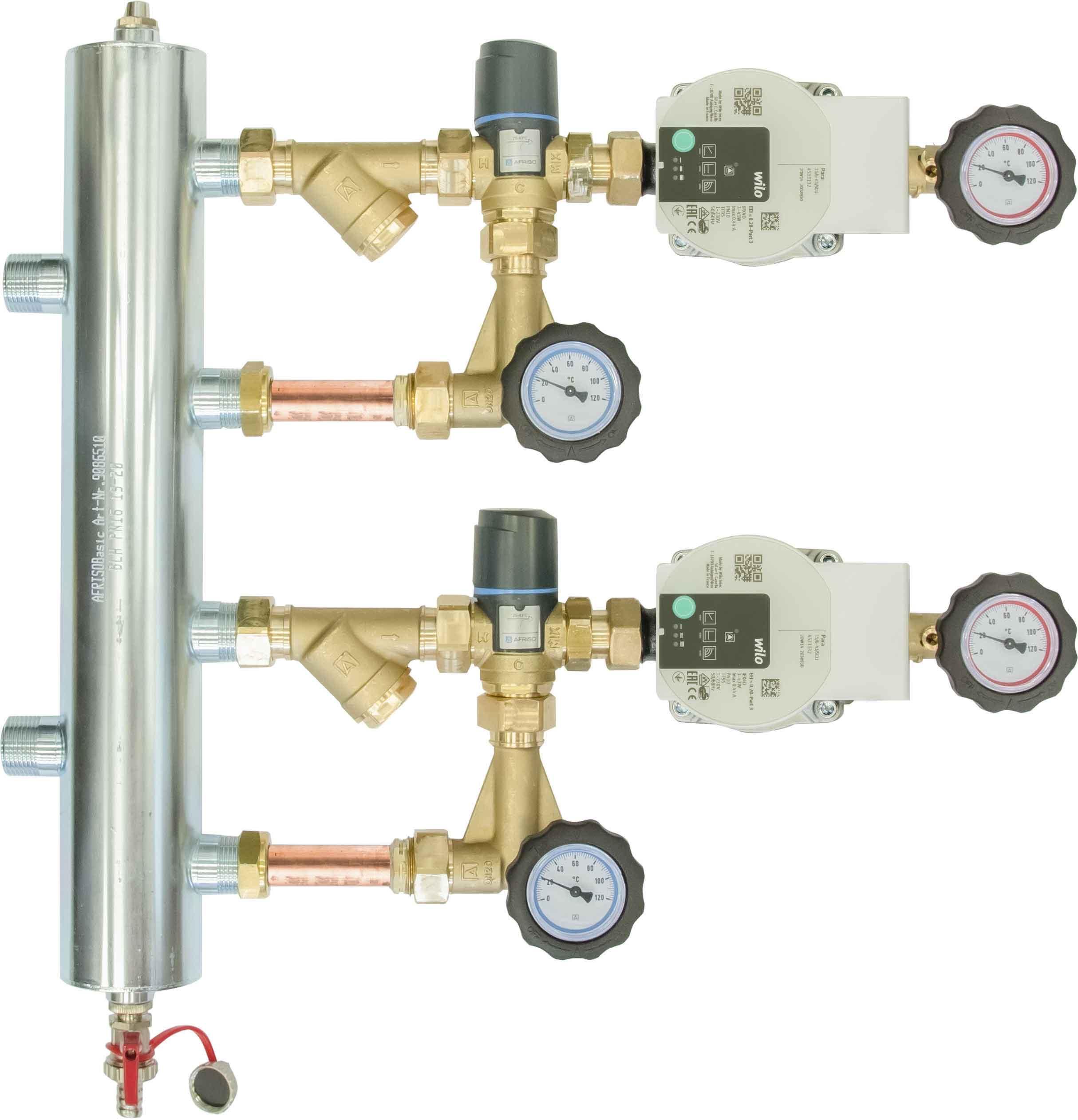 Zestaw mieszający ze sprzęgłem hydraulicznym BPS 922, dwa człony z zaworem termostatycznym ATM 561, pompy Wilo Para SC