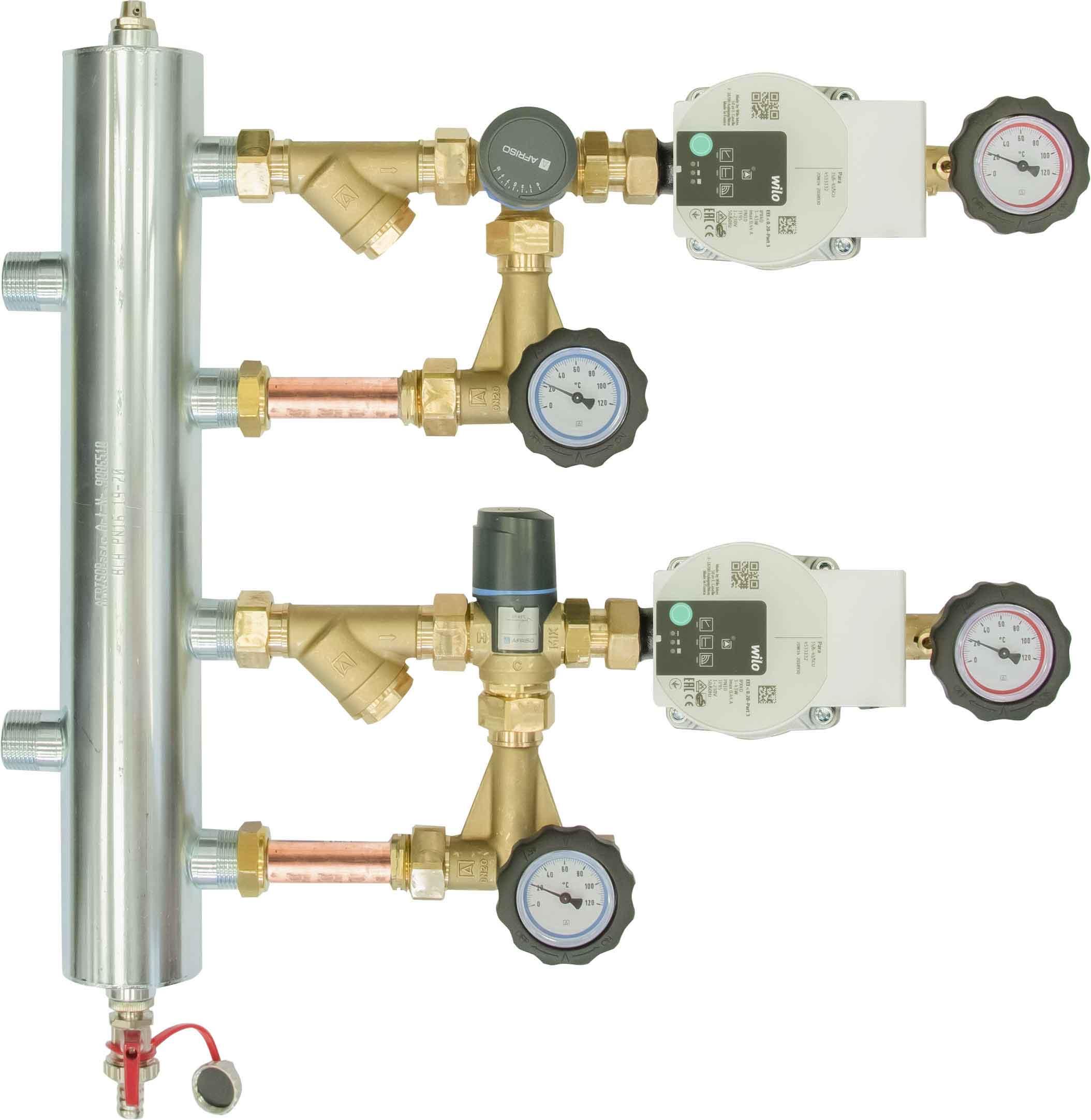 Zestaw mieszający ze sprzęgłem hydraulicznym BPS 972, człon z zaworem obrotowym ARV 362 i termostatycznym ATM 561, pompy Wilo Para SC