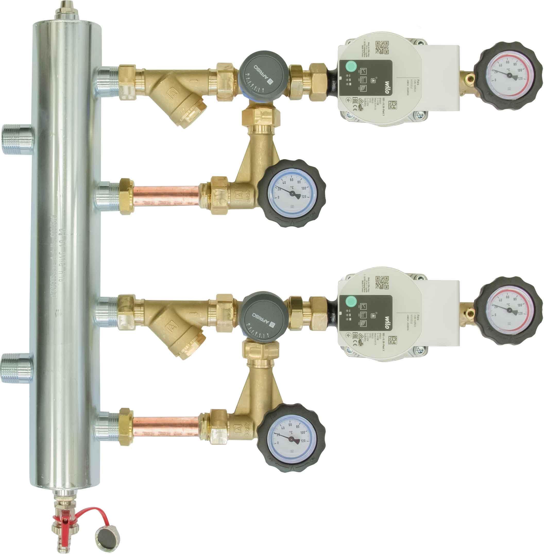 Zestaw mieszający ze sprzęgłem hydraulicznym BPS 977, dwa człony z zaworem obrotowym ARV 362, pompy Wilo Para SC