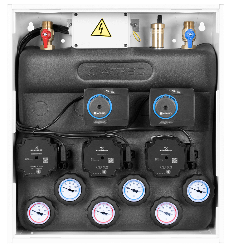 Zestaw mieszający z rozdzielaczem PrimoBox AZB 555 w szafce, bez mieszania, 2x zawór obrotowy z siłownikiem ARM 141