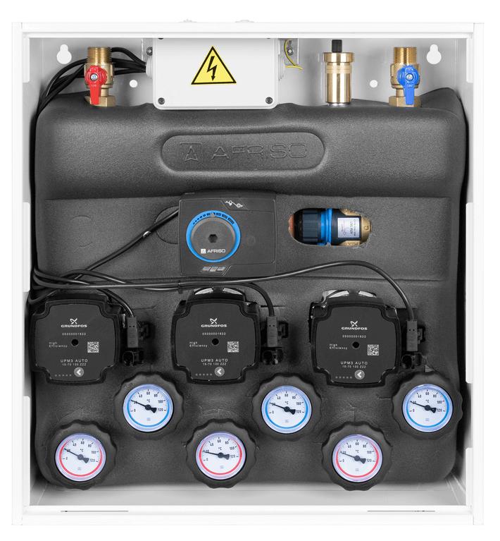 Zestaw mieszający PrimoBox AZB 351 w szafce, bez mieszania, zawór obrotowy z siłownikiem ARM 141, zawór termostatyczny ATM 561