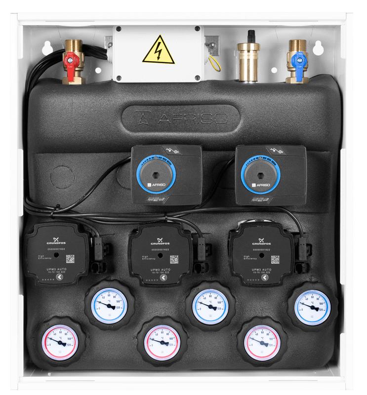 Zestaw mieszający PrimoBox AZB 355 w szafce, 1x bez mieszania, 2x zawór obrotowy z siłownikiem ARM 141